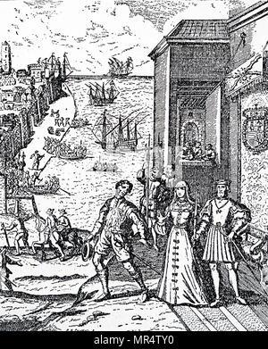 Gravure représentant Christophe Colomb à prendre congé de ses mécènes, Ferdinand et Isabelle, de mettre le cap sur son voyage historique de découverte. Christophe Colomb (1451-1506) un Italien explorer, navigator, et colonisateur. En date du 17e siècle Photo Stock