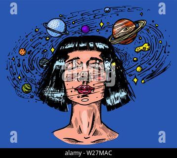 Jeune femme avec des planètes. Double exposition fille futur astronome et étoiles dans l'espace. Concept de science-fiction. Gravé à la main vintage retro sketch Photo Stock