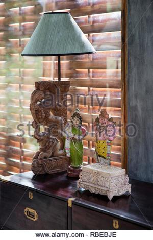 Détail du buffet. Jalakara Villa Hotel, Andaman et Nicoar, France. Architecte: Ajith Andagere, 2016. Photo Stock