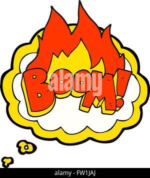 Freehand appelée bulle pensée boom cartoon Photo Stock
