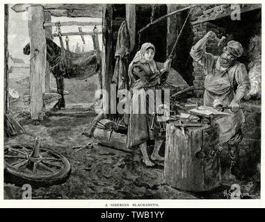 Un Sibérien Forgeron au travail. Date: vers 1890 Photo Stock
