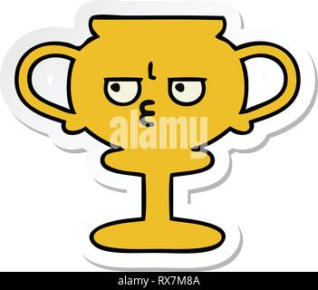 D'un autocollant cute cartoon trophy Photo Stock
