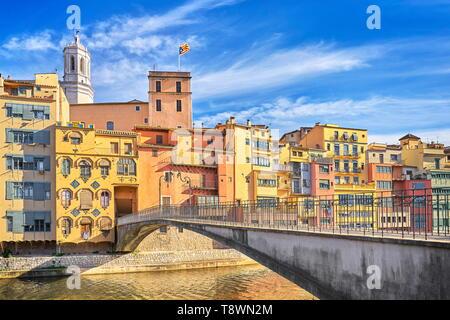 Maisons colorées de Gérone, Catalogne, Espagne Photo Stock