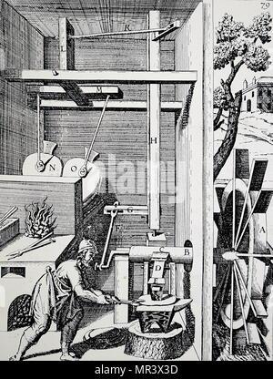 Gravure représentant une forge à soufflet et d'un marteau alimenté par une roue à eau prognathe. En date du 17e siècle Photo Stock