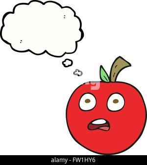 Freehand appelée bulle pensée cartoon tomato Photo Stock