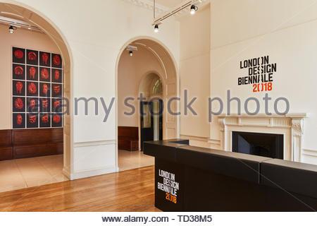 Bureau d'information. Design Biennale 2018 de Londres, Londres, Royaume-Uni. Architecte: Divers , 2019. Photo Stock