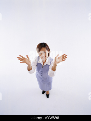 Jeune femme bureau en fond blanc Photo Stock