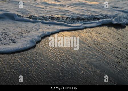 Vagues sous le soleil du soir scintillant Photo Stock