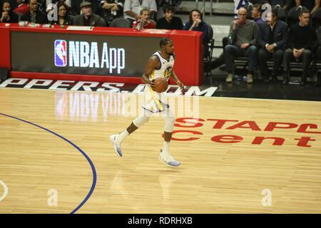 Los Angeles, CA, USA. 18 janvier, 2019. Golden State Warriors #35 Kevin Durant l'avant de la cour pendant les Golden State Warriors vs Los Angeles Clippers au Staples Center le 18 janvier 2019. (Photo par Jevone Moore) Credit: csm/Alamy Live News Photo Stock