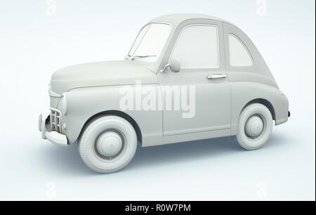 Cartoon car.Clay render style. 3D illustration Photo Stock
