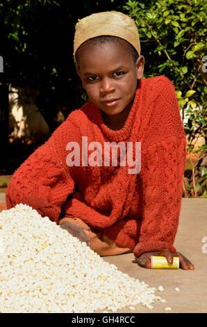 Géographie / billet, au Cameroun, les jeunes dans le village Idool la récolte, séchage du Nord, Afrique Photo Stock