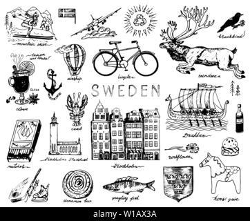 Symboles de la Suède dans le style vintage. Croquis rétro avec signes traditionnels. La culture scandinave, national in pays européen. L'écologie et du Photo Stock