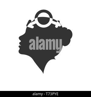 Profil d'une femme à la tête avec le symbole de bigender, modèle plat Photo Stock