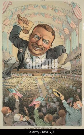 CHICAGO, le 21 juin 1904. Tous EN FAVEUR DE LA NOMINATION VA DIRE OUI! Caricature de Puck Magazine, montre Photo Stock
