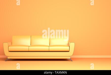 Canapé jaune sur le fond jaune. 3D illustration Photo Stock
