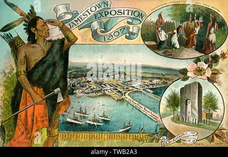 Carte postale publicitaire pour l'Exposition Universelle de 1907 Jamestown, y compris un détail de l'illustration montrant l'amérindienne Pocahontas intercède pour Capitaine John Smith et le reste (tour) de l'ancienne église. La foire a été commémorant le 300e anniversaire de la fondation de la colonie de Jamestown en Virginie. Date: 1907 Photo Stock
