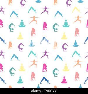 Modèle intégré de la méditation. La silhouette des femmes colorés pour la santé et la forme physique ou spirituel. Photo Stock