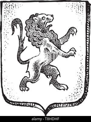 L'animal pour l'héraldique en style vintage. Armoiries gravées avec lion. Emblèmes médiévale et le logo de la fantasy kingdom. Photo Stock