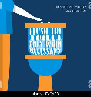 La Journée mondiale de l'eau durable eco friendly illustration avec le style de la chasse d'eau, uniquement si nécessaire. Photo Stock