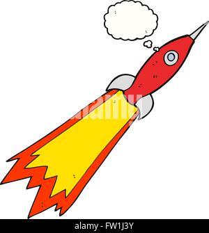Freehand appelée bulle pensée cartoon rocket Photo Stock