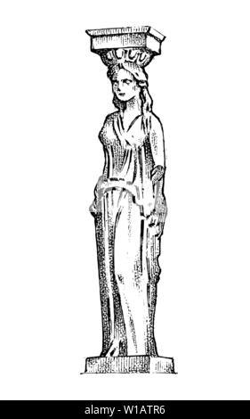 Statue colonne grecque en Grèce. Femme dans un style ancien. Gravé à la main vintage esquisse pour poster, une bannière ou un site web. Photo Stock