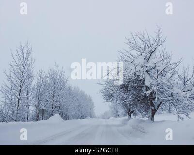 La conduite sur une route couverte de neige hiver tranquille dans la neige profonde. Photo Stock