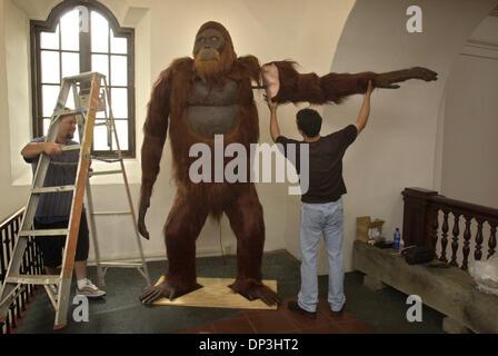 (Publié le 06/18/2003; B-1:1,2,7; B-2:6): George York, droite, concepteur du Gigantopithecus replica, attaché un bras sur sa création, après son installation au Musée de l'homme dans le Parc Balboa, lundi matin, tandis que Wayne adjoint Pierre, à gauche, sur l'air. Le primate fait partie de la nouvelle voie à travers le temps la pièce. Photo Stock