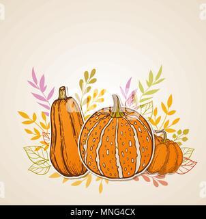 Automne fond orange avec les citrouilles. Vector illustration. Photo Stock