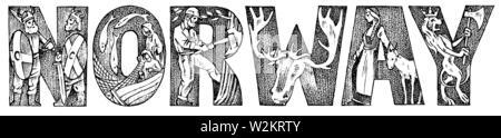 Inscription le Danemark en style vintage. Ancien antiquité majuscules monogrammes d'un ornement. Double exposition. Croquis dessinés à la main, gravée. Photo Stock