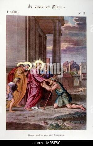 """Illustration du """"Grand Catéchisme pour les familles"""". 1907. Jésus la guérison de l'aveugle Photo Stock"""