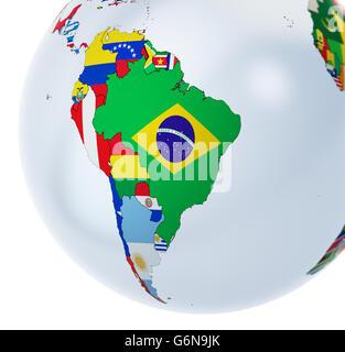Globe 3D avec des drapeaux nationaux - 3D illustration Photo Stock