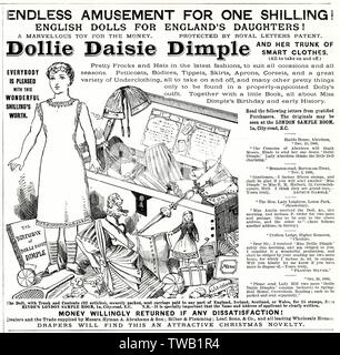 """Dollie Dimple Daisie. """"Amusement sans fin pour un shilling! Des poupées pour l'anglais angleterre's Daughters!' vendu avec un tronc et diables accessoires. Date: 1886 Photo Stock"""