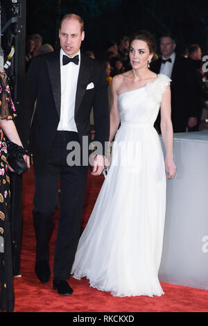 Londres, Royaume-Uni. 10 fév, 2019. Londres, Royaume-Uni. 10 février 2019 : Duc & duchesse de Cambridge arrivant pour le BAFTA Film Awards 2019 au Royal Albert Hall, Londres. Photo : Steve Sav/Featureflash Crédit : Paul Smith/Alamy Live News Photo Stock