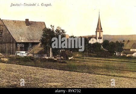 Bâtiments de Erzgebirgskreis, Deutscheinsiedel, 1919, Erzgebirgskreis, Deutsch, Einsiedel, Allemagne Photo Stock