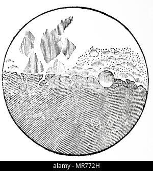 Gravure représentant le dessin de Galilée de la Lune au premier trimestre. Galileo Galilei (1564-1642), un mathématicien italien. En date du 17e siècle Photo Stock