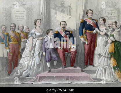 Napoléon III (1808-1873) avec l'épouse Eugénie, le Prince Impérial et le Prince Napoléon à droite Photo Stock