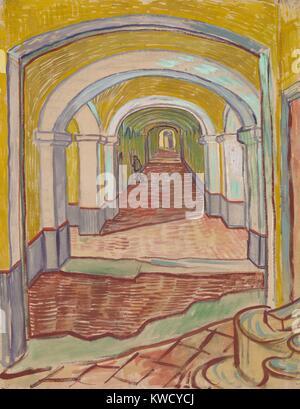 Dans le couloir de l'asile, par Vincent Van Gogh, 1889, peinture postimpressionniste néerlandais. Ce travail Photo Stock