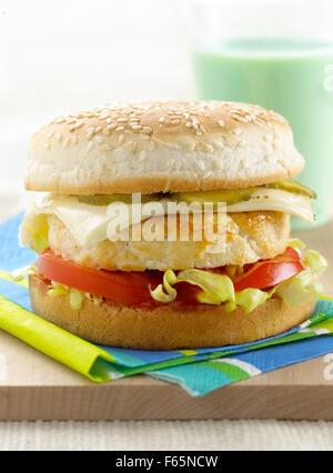 burger au poulet Photo Stock
