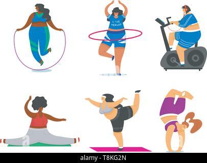 Filles remise en forme grande taille. Sport santé en club. Ensemble de grosse femme de faire les exercices, perte de poids, s'exécutant sur le simulateur, l'échauffement. Poser dans la formation Photo Stock