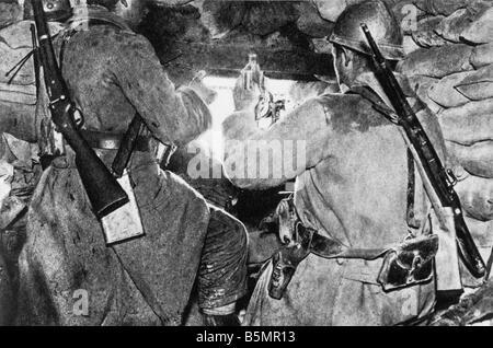 9 1916 6 3 E1 une attaque contre le Fort Vaux Fr Mach gun firers la Seconde Guerre mondiale, Front de l'Ouest Photo Stock