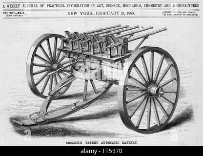 WILLIAM Crozier (1855-1942) United States Army Ordnance Corps dirigeant. Son design pour une machine gun.tel que publié dans le magazine Scientific American en 1863 Photo Stock