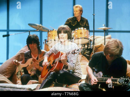 Le groupe de rock anglo-américain des prétendants avec Chrissie Hynde à propos de 1980. Photo: Van Houten Photo Stock