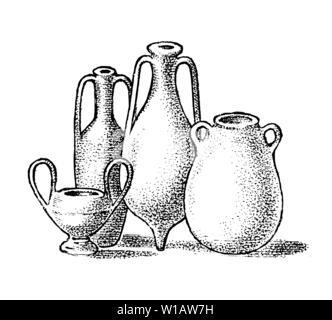 La poterie de la Grèce antique. Des pots en argile ou vases grecs en vintage style ancien. Gravé à la main vintage esquisse pour poster, une bannière ou un site web. Photo Stock