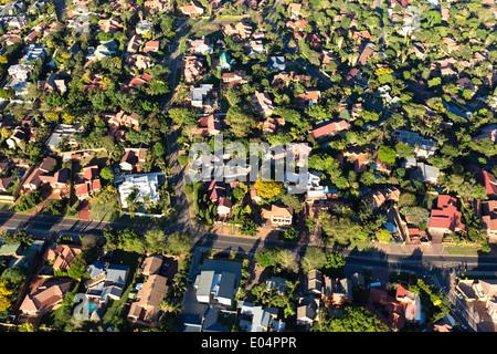 Vue aérienne de la banlieue de Johannesburg Johannesburg.logement.Afrique du Sud Photo Stock