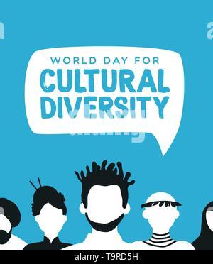 Journée mondiale de la diversité culturelle l'illustration pour divers concept communautaire avec les gens social groupe. Photo Stock