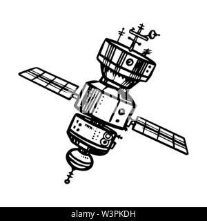 Vaisseau spatial astronaute pour voyager dans l'espace. Chaînes pour l'étude des planètes et des galaxies. Croquis d'astronomie pour emblème ou logo dans le style vintage Photo Stock