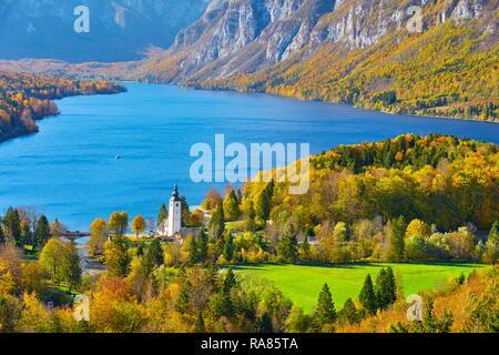 Le lac de Bohinj, Alpes Juliennes, en Slovénie Photo Stock