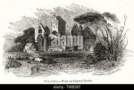 Abbaye de Sweetheart, ou nouvelle abbaye, une abbaye cistercienne près de Dumfries, Kirkcudbright, Ecosse, datant du 13e siècle. Date: 1842 Photo Stock