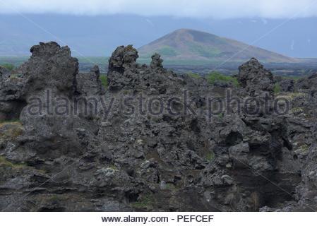 Les formations de lave de Dimmuborgir. Photo Stock