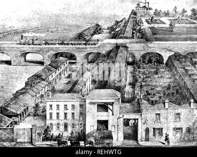 Faire de la corde à l'usine Frères Gel Commercial Road,Londres, 1850 environ, montrant la longue galerie où les cordes sont filées. Photo Stock